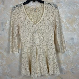Free People Laced Tunic Blouse Top